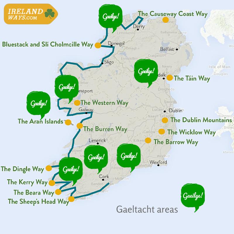 The Irish Language A Beginners Guide IrelandWayscom - Irish language map